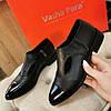 Женские туфли с острым носком на низком ходу, натуральная кожа и лаковая кожа., фото 4