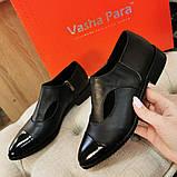 Женские туфли с острым носком на низком ходу, натуральная кожа и лаковая кожа., фото 3