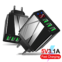 Сетевое зарядное устройство 3 port USB / LED зарядный блок блочок зарядка для телефона смартфона D5574B