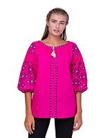 Женская  вышиванка Свитодара, лен розовый, р 42 - 54