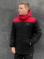 Куртка мужская зимняя теплая Nike черная с красным
