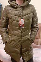 Куртка пуховик зимняя темно зеленый женская 50 52 54 56