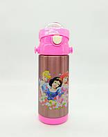 Детский термос с трубочкой 350 мл, Термос бутылочка Дисней Принцессы