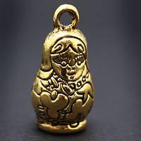 Кулон Матрешка, Металл, Цвет: Античное Золото, Размер: 25х12х12мм, Отверстие 3мм, (УТ000006715)
