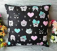 Подушка мордочки котики-песики на черном , 35 см * 35 см