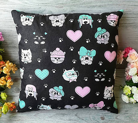Подушка мордочки котики-песики на черном , 35 см * 35 см, фото 2