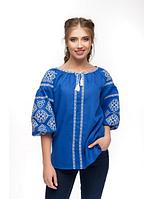 Женская  вышиванка Свитодара, лен синий, р 42 - 56