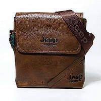 Мужская сумка через плечо Jeep. Коричневая. 21см х 19см / Кожа PU. 556 brown, фото 1