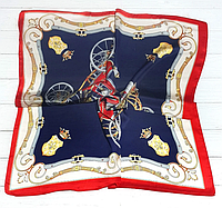 Шейный платок Камилла из вискозы и шелка, 70х70 см, индиго
