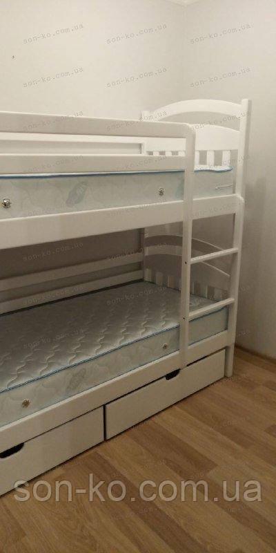 Двоярусне ліжко Денис в білому кольорі