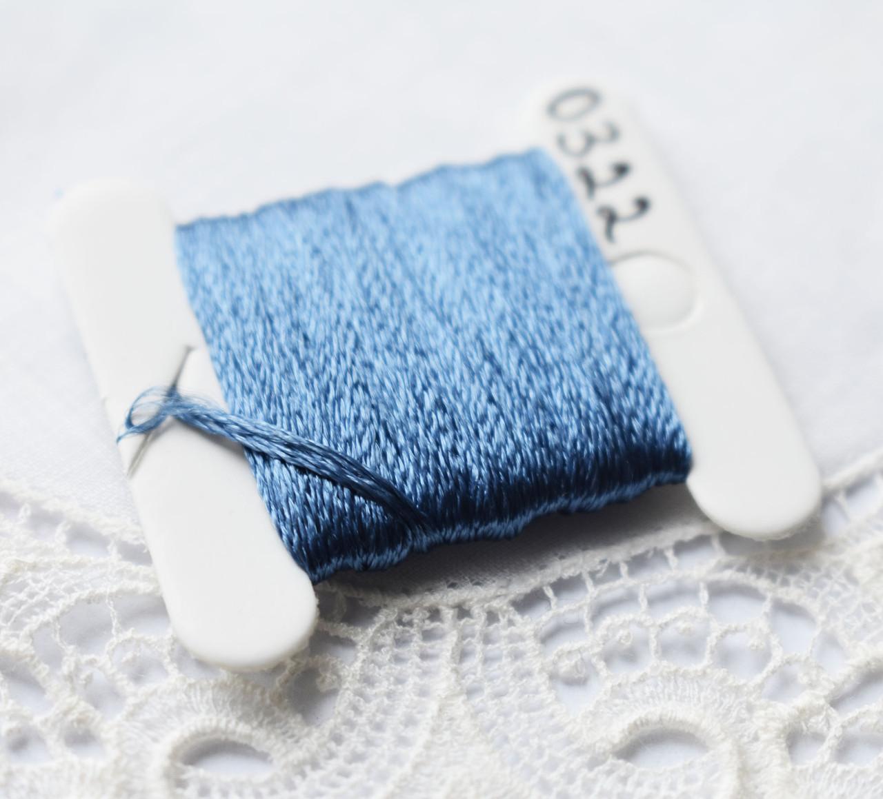 Мулине имитация шелка, 4м, 6 сложений, серо-небесно синий