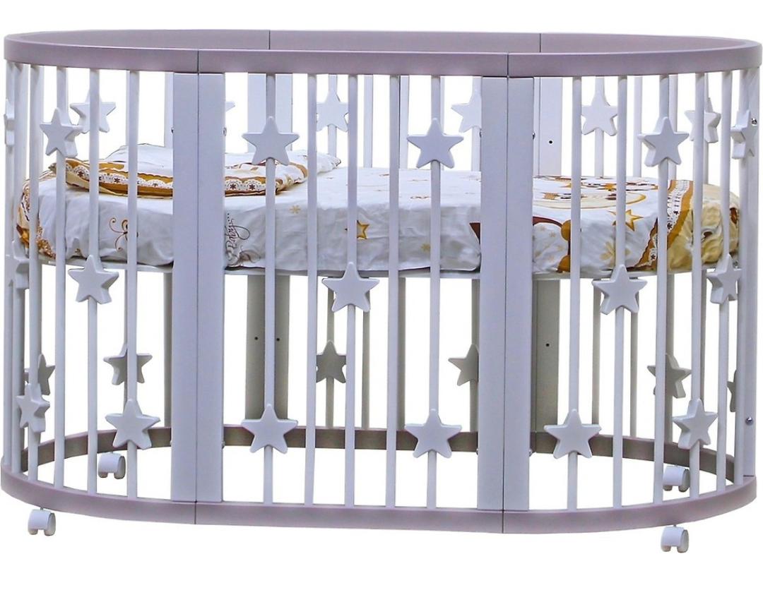 Дитяче овальне ліжечко-трансформер 7 в 1 Pinocchio Біле з зірочками