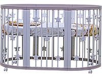 Дитяче овальне ліжечко-трансформер 7 в 1 Pinocchio Біле з зірочками, фото 1
