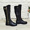 Сапоги   кожаные женские на невысоком каблуке, фото 3