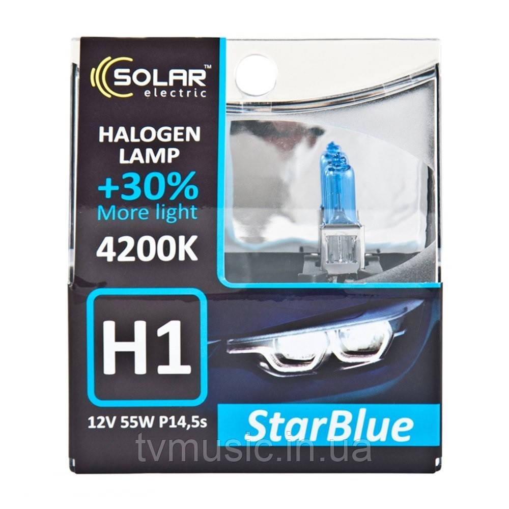 Галогенные лампы SOLAR StarBlue H1 12V 55W 4200K
