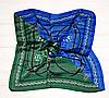 Шийний хустку Камілла з віскози і шовку, 70х70 см, синій/зелений