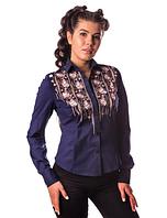 Женская  вышиванка Зара,поплин темно-синий, р 42 -54