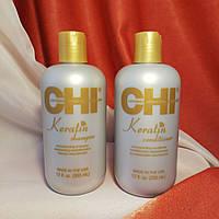 Набор CHI Keratin / шампунь 355 ml+кондиционер 355 ml/ Кератиновое восстановление