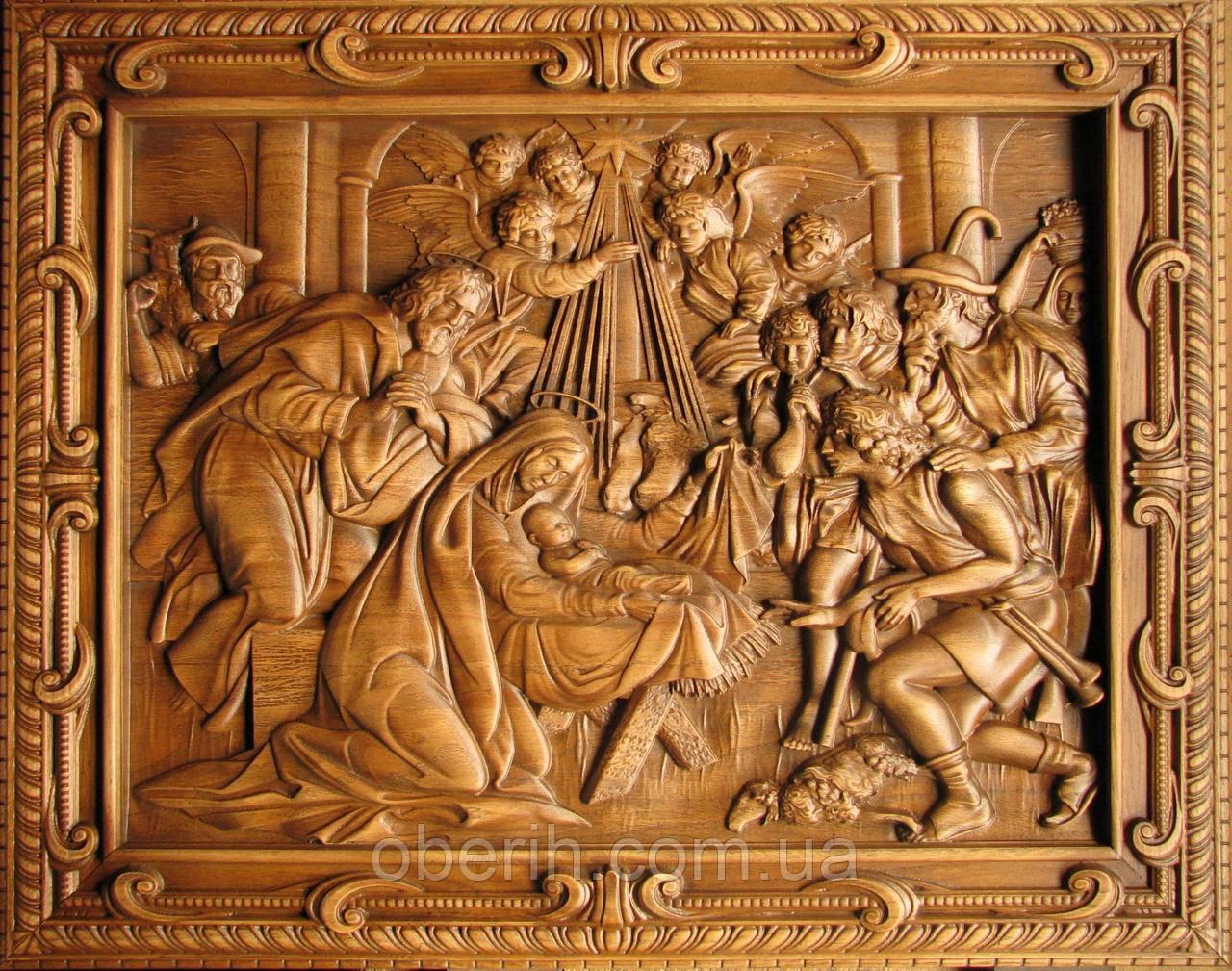 "Панно резное на дереве ""Рождество Христа 2"" (34х28см)"
