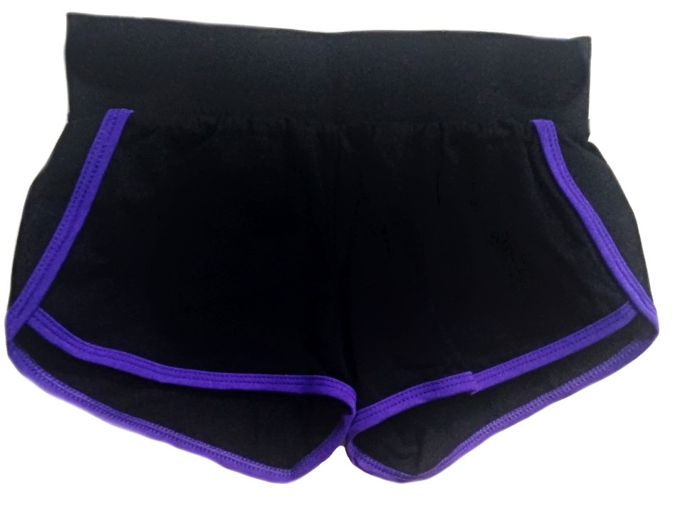 Шорты VK с окантовкой хл.92% лайкра 8%  черный + фиолетовый
