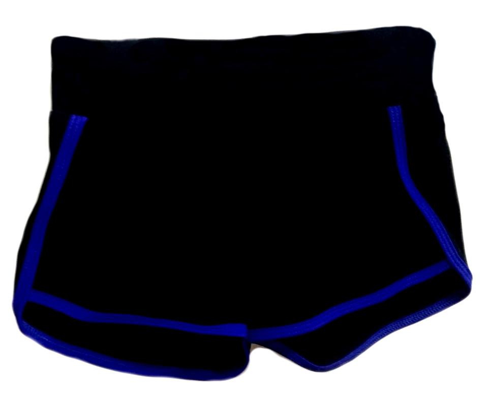 Шорты VK с окантовкой хл.92% лайкра 8%  черный + синий