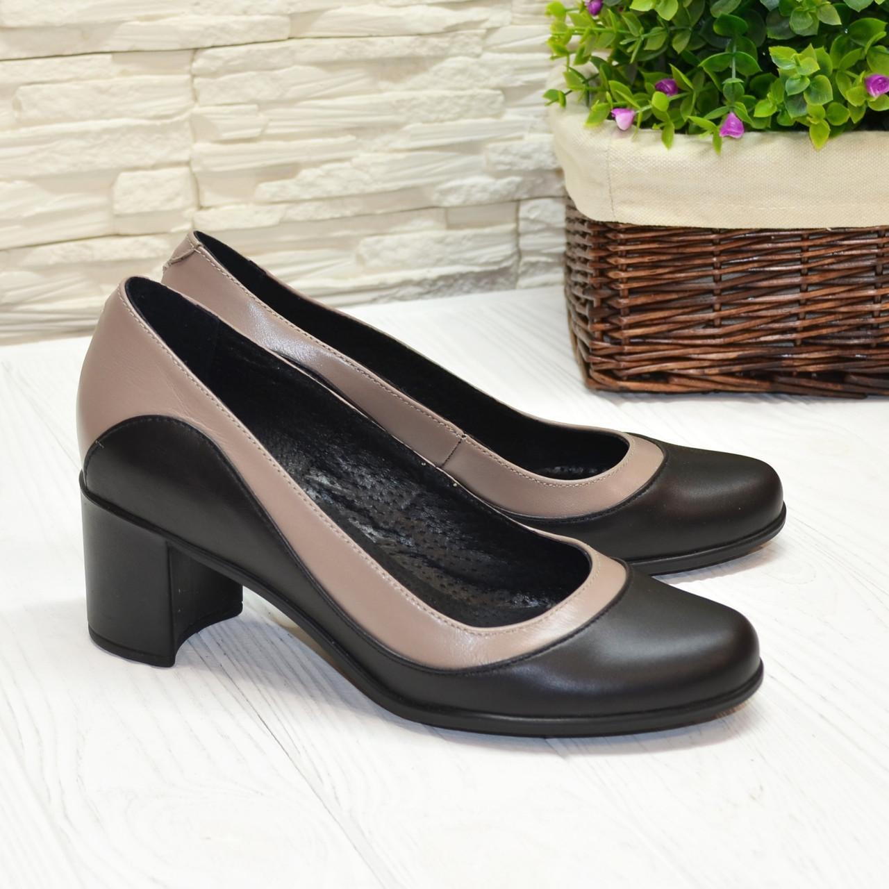 Женские классические туфли на невысоком каблуке, цвет черный/визон