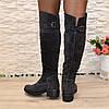 Ботфорты женские   на каблуке, натуральная серая замша, фото 3