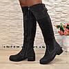 Ботфорты женские   на каблуке, натуральная серая замша, фото 4
