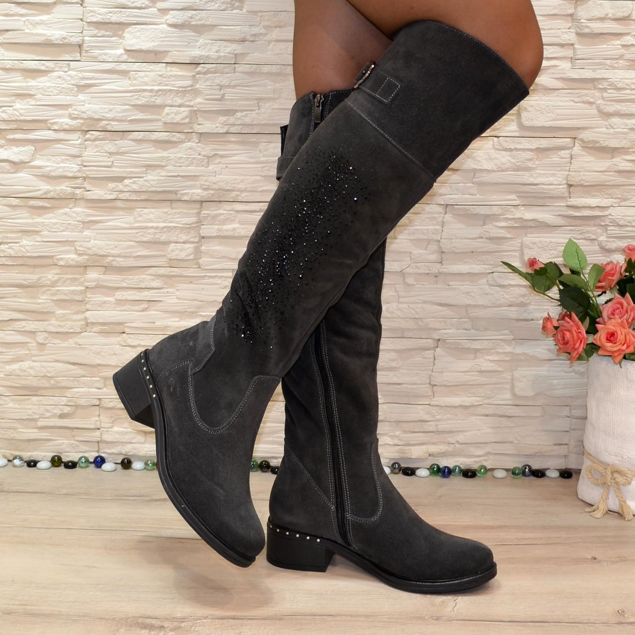 Ботфорты женские   на каблуке, натуральная серая замша