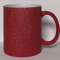 Чашка сублимационная хамелеон матовая с блестками КРАСНАЯ