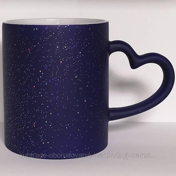 Чашка сублимационная LOVE матовая с блестками СИНЯЯ