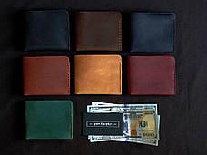 Шкіряний гаманець «Gomin Black» чоловічий Чорний (10,5x8,5 см) ручної роботи, фото 2