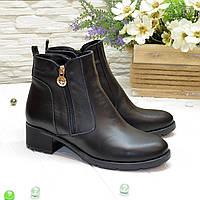 Ботинки черные женские кожаные   на каблуке