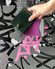 Шкіряний затиск для грошей «Zosh Olive» чоловічий Оливковий (9x8,5 см) ручної роботи, фото 3