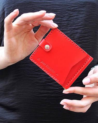 Кожаный зажим для денег Zosh женский Красный, фото 2