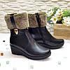 Ботинки женские кожаные   на платформе, декорированы опушкой, фото 3
