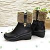 Ботинки женские кожаные   на платформе, декорированы опушкой, фото 4