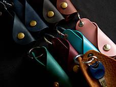 Шкіряна ключниця «Keysi Fuchsia» жіноча малинова (9,5x9 см) ручної роботи, фото 2