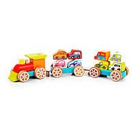 Поезд с машинками CUBIKA, деревянная развивающая игрушка