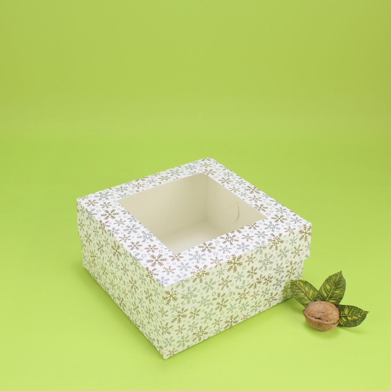 """Коробка 170*170*90 для десертів з вікном, """"Зима"""""""