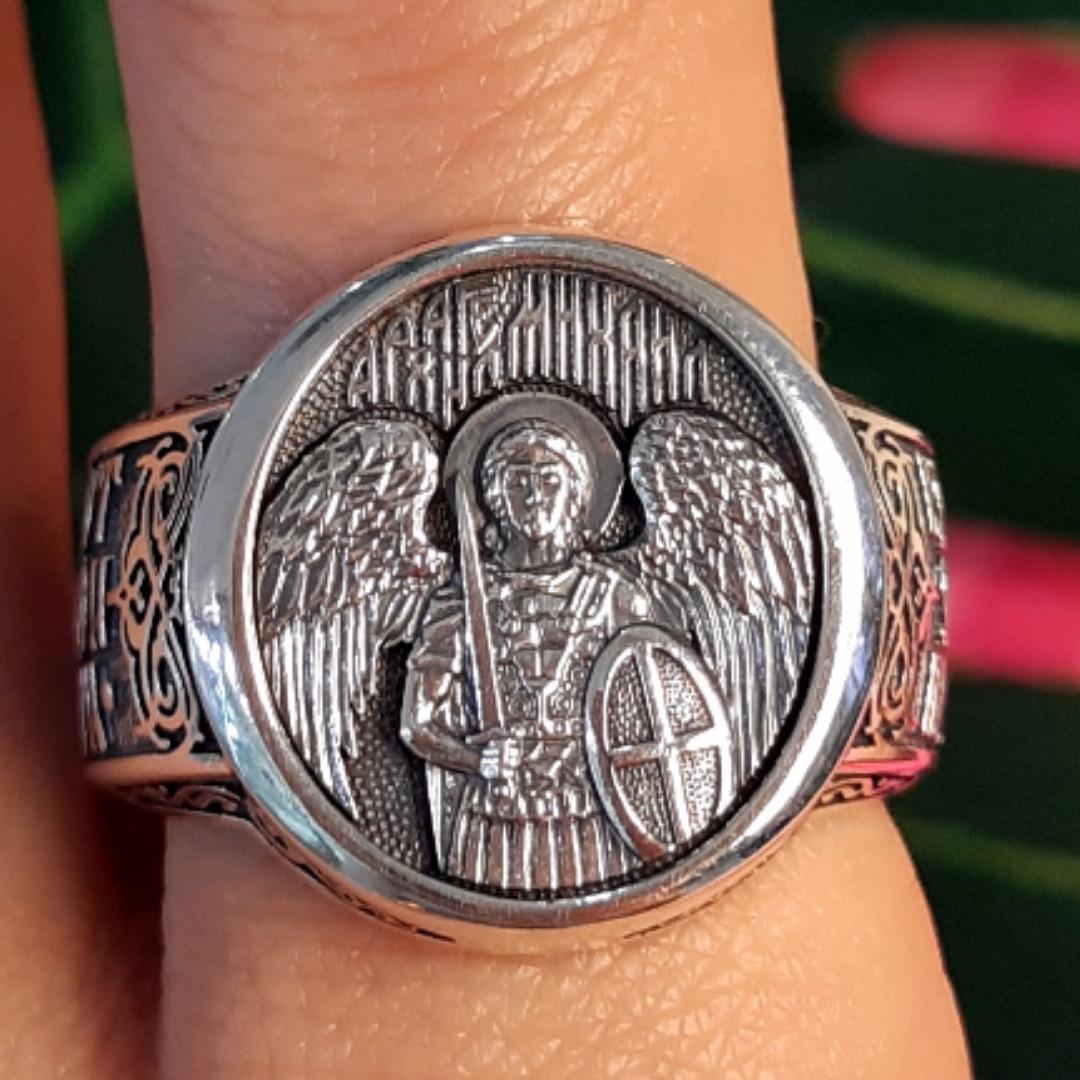 Серебряное мужское кольцо Архангел Михаил с молитвой - Кольцо Архистратиг Михаил серебро