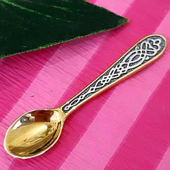 Серебряная ложка загребушка с позолотой - Серебряный сувенир Ложка загребушка