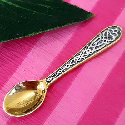 Срібна ложка загребушка з позолотою - Срібний сувенір Ложка загребушка
