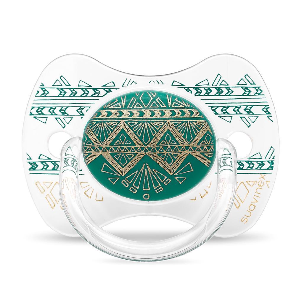 Suavinex - Пустышка с физиологической (круглой) соской серии Couture, цвет темно-зеленый (с 4 до 18 мес)
