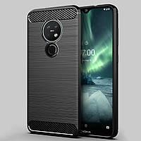 Противоударный TPU чехол Rugged Carbon для Nokia 7.2 (черный)