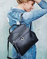 Черная сумка-рюкзак женская 45024 трансформер через плечо модная на защелке