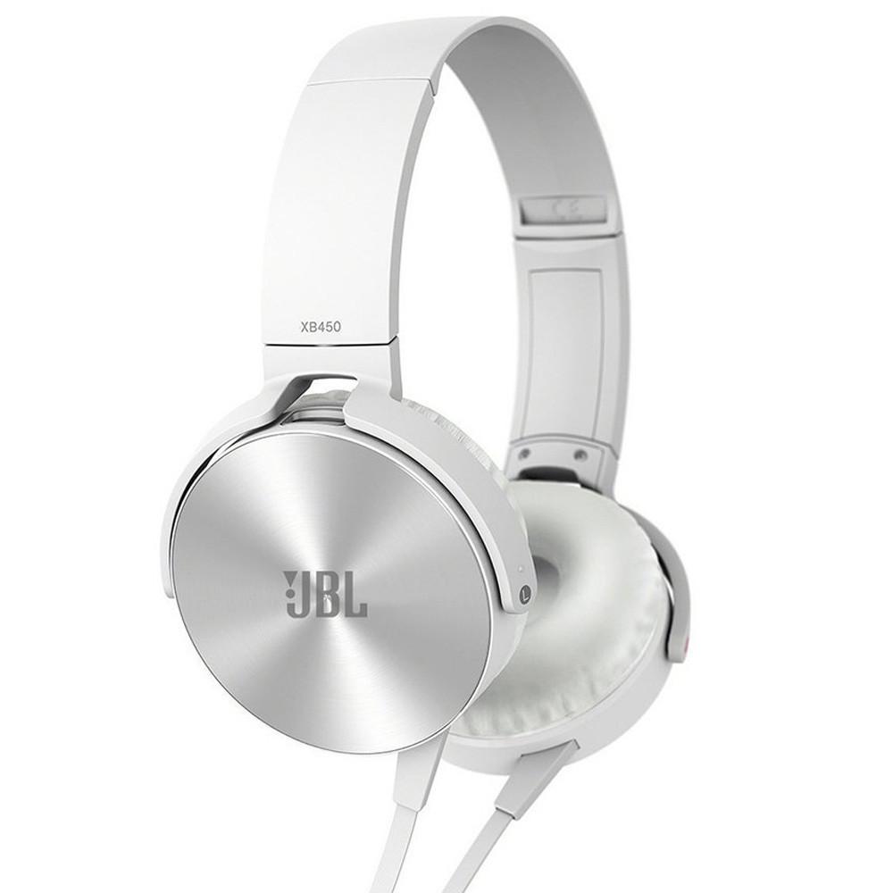 Накладные наушники гарнитура (с микрофоном) JBL MDR-XB450 copy белые УЦЕНКА
