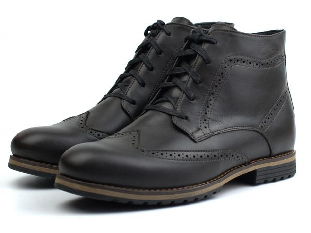 Зимние ботинки броги коричневые кожаные на овчине Rosso Avangard Winter Brogues Rown Leather