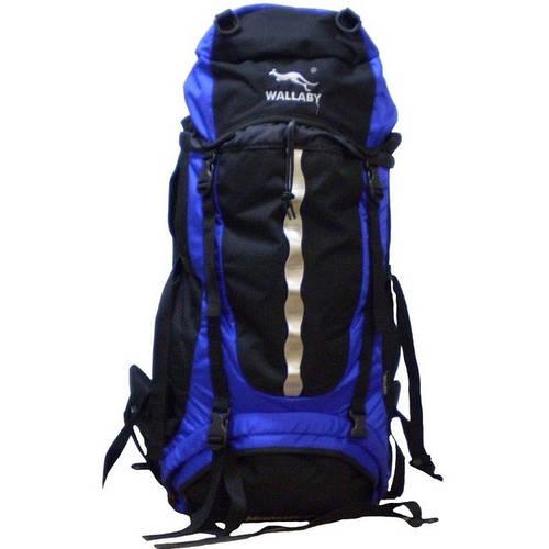 Рюкзак туристический 65+10 л. Wallaby Е117-1 черный с синим