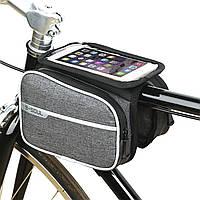 """Фирменная велосумка XS15 Touch Screen карман для смартфона до 6.2"""". Сумка велобагажник для велосипеда Серая"""